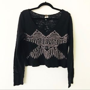 FREE PEOPLE Black Lace Floral Patterned Top